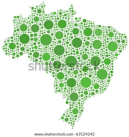Map of Brazil - Latin America - in a mosaic of green circles. A number of 1480 bubbles are accurately inserted into the mosaic. White background.