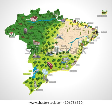Map of Brazil with all capitals. Cities of Brazil.