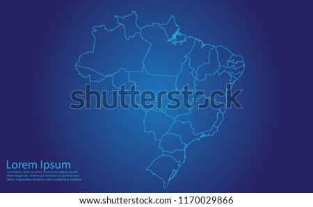 Map of brazil - With glowing point and lines scales on the dark gradient background. brazil map with country borders, thin Blue outline on Dark background.