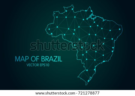 Map of Brazil - With glowing point and lines scales on the dark gradient background, 3D mesh polygonal network connections.Vector illustration eps 10.