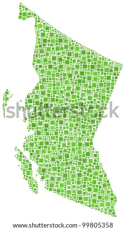 Map of British Columbia (Canada) in a mosaic of green squares. A number of 2273 little squares are accurately inserted into the mosaic. White background.