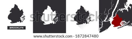 Map of Brooklyn. Boroughs of New York City. United States of America. State maps. Trendy design. Vector illustration Сток-фото ©