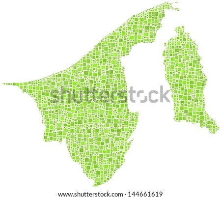 Map of Brunei - Asia - in a mosaic of green little squares. A number of 2836 green squares are accurately inserted into the mosaic. White background.