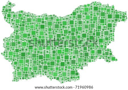 Map of Bulgaria. A number of 2538 squares are inserted into the mosaic