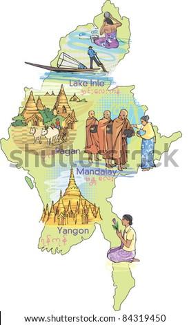 Map of Burma Myanmar