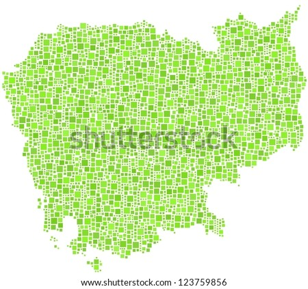 Map of Cambodia - Asia - in a mosaic of green squares