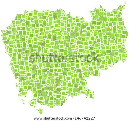 Map of Cambodia - Asia - in a mosaic of green squares. A number of 2665 little squares are accurately inserted into the mosaic. White background. - stock vector