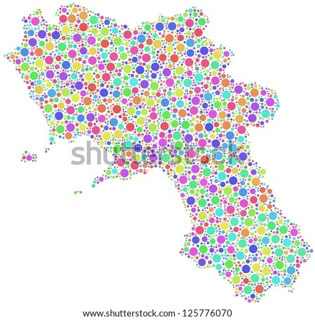 Map of Campania - Italy - in a mosaic of harlequin bubbles. A number of 2625 little harlequin circles are accurately inserted into the mosaic. White background.