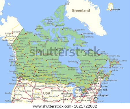 Map Of Canada Roads.Map Of Canada Shows Country Borders Place Names And Roads Labels