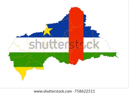Map Of Central African Republic With Flag Isolated On White Background.