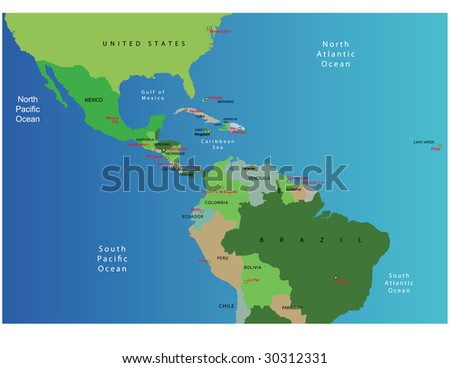 map of mexico and south america with capitals. by central america map