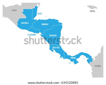 map of central america region...