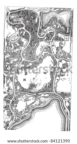 Map of Central Park, in Manhattan in New York City, New York, USA, vintage engraved illustration. Trousset encyclopedia (1886 - 1891).