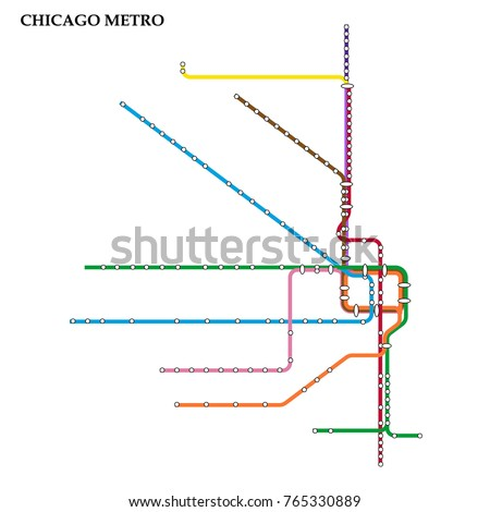Map of Chicago metro, Subway, Template of city transportation scheme for underground road. Vector illustration