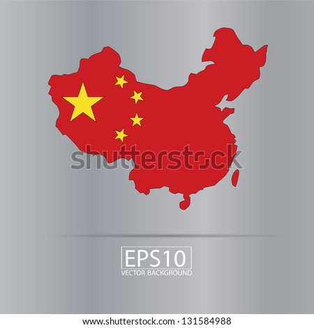 map of China and flag illustration