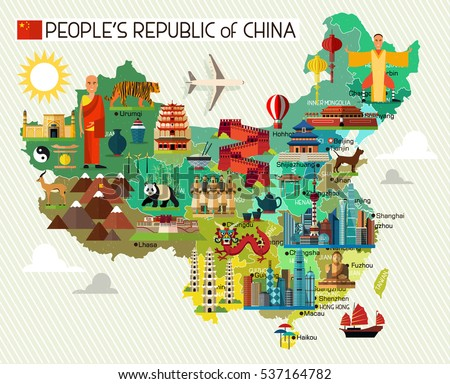 map of china and travel icons