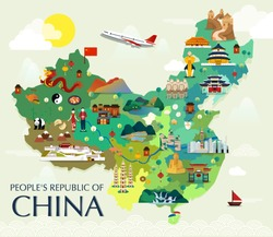 Map Of China Attractions Vector And Illustration.