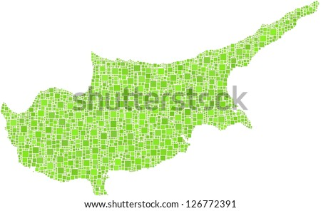 Map of Cyprus in a mosaic of green squares. A number of 3033 little squares are accurately inserted into the mosaic.