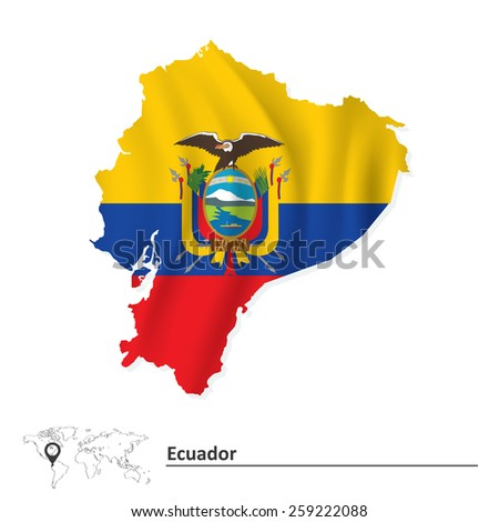Map of Ecuador with flag - vector illustration