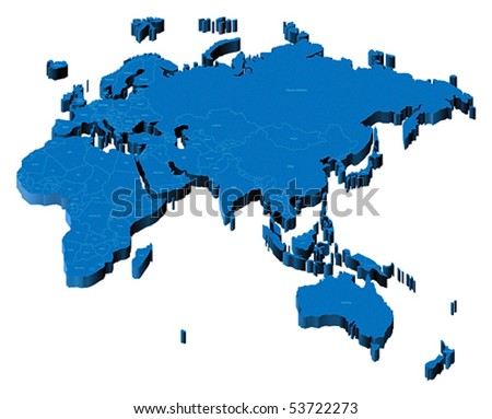 Map of Europe, Asia, Africa, Australia with national borders and country names. Pseudo-3d vector illustration.