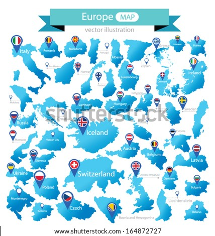 Map of Europe. Country. flag pointer. vector Illustration.