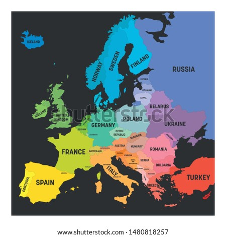 Map of Europe in colors of rainbow spectrum. With European countries names.
