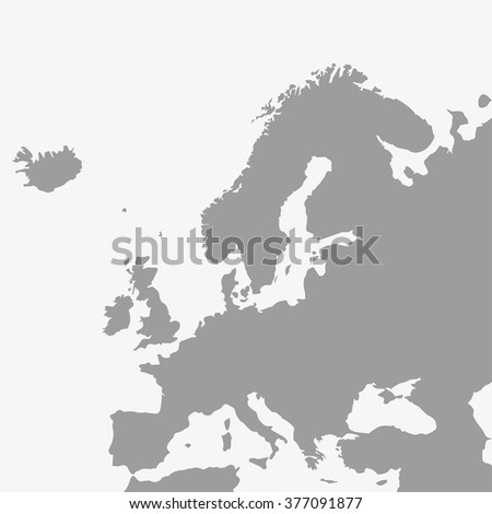 map  of europe in gray on a
