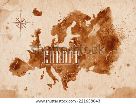 Map of Europe in old style, brown graphics in a retro style