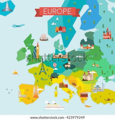 Map of Europe. Travel and tourism background. Vector flat illustration