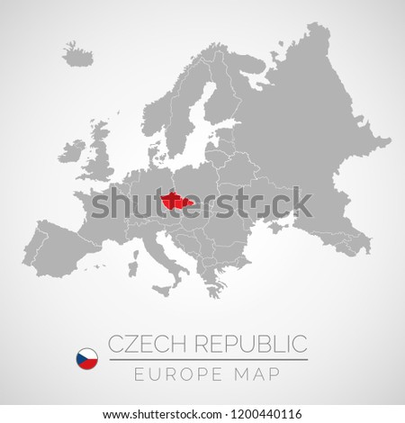 Map of European Union with the identication of Czech Republic. Map of Czech Republic. Political map of Europe in gray color. European Union countries. Vector stock.