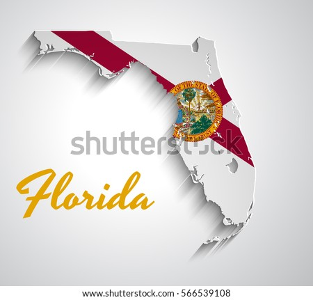 florida flag. map of florida abstract vector paper with state flag