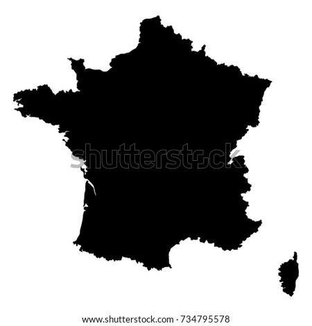 Map of France on white background. Vector, illustration
