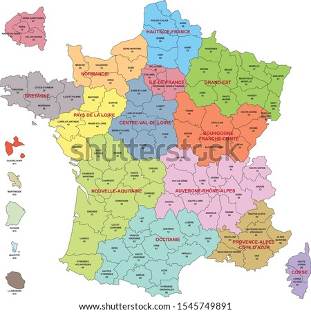 Map of France with departments and regions including departments of Overseas and enlargement of departments around Paris Stock fotó ©
