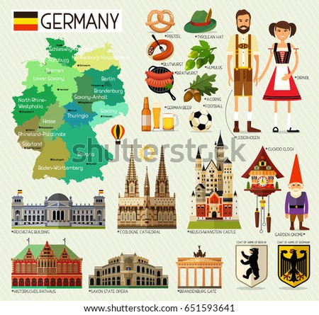 map of germany and travel icons