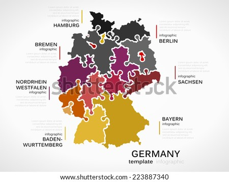 map of germany concept template with states made out of puzzle pieces