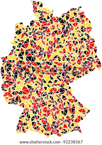 Map of Germany (Europe) in a mosaic of triangles. Four different mosaics are inserted inside the EPS file. Number of triangles: 3611, 1797, 1466, 992.