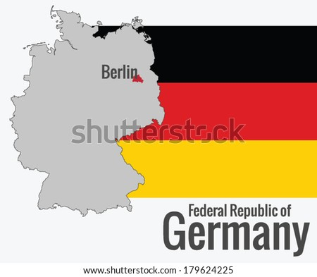 Map of Germany with the flag, vector