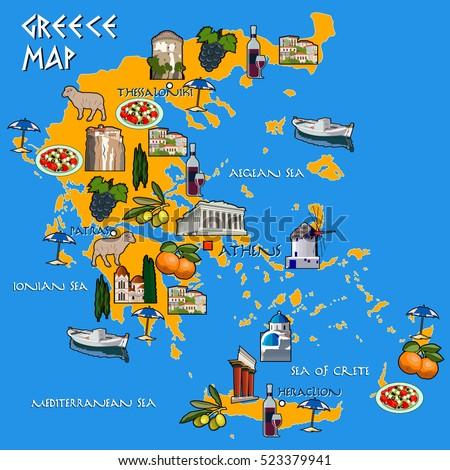 map of greece handmade drawing