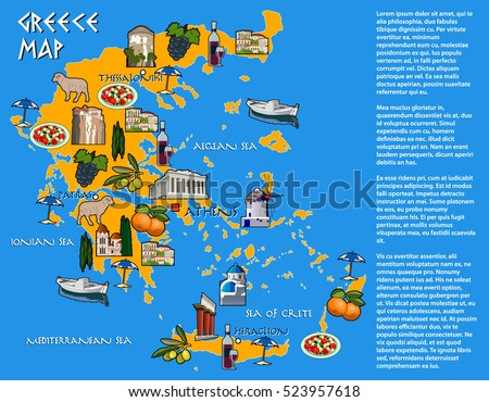 map of greece with icons of