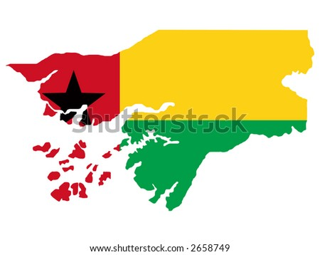 map of Guinea-bissau and Guinean flag illustration