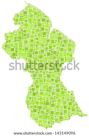 Map of Guyana - Latin America - in a mosaic of green squares