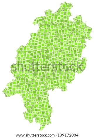 Map of Hesse - Germany - in a mosaic of green squares. A number of 4064 little squares are accurately inserted into the mosaic. White background.
