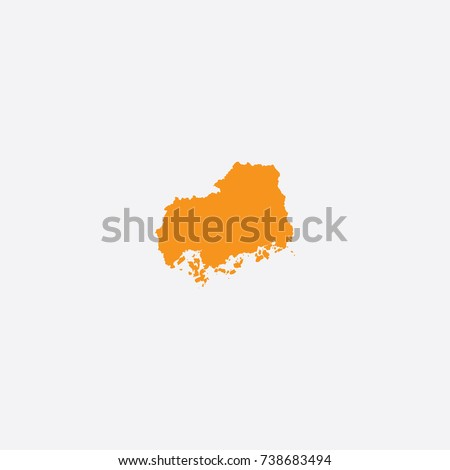 Map of Hiroshima Prefecture - Japan Vector Illustration | EZ Canvas