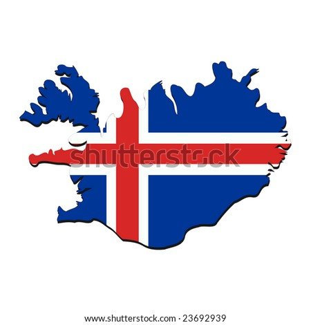 map of Iceland with their flag illustration