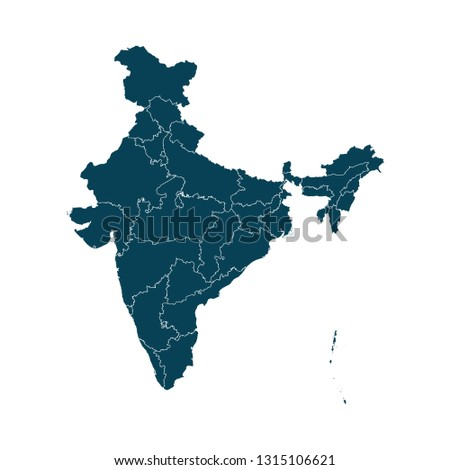 Map of India - High detailed on white background. Abstract design vector illustration eps 10.