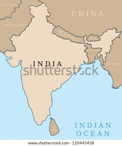 Map of India. Outline illustration with country map.