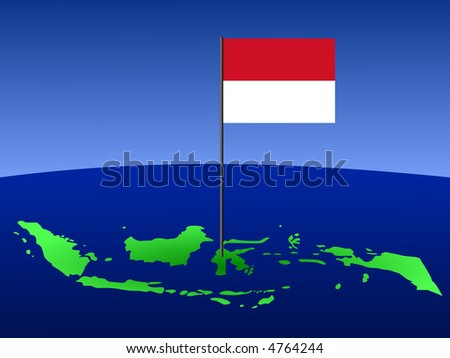 map of Indonesia and Indonesian flag on pole illustration
