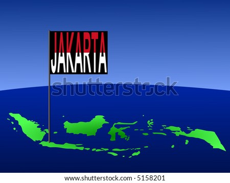 map of Indonesia with position of Jakarta marked by flag pole illustration