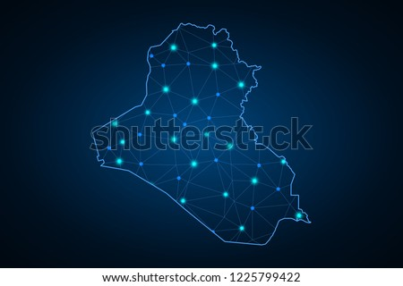 Map of Iraq. Wire frame 3D mesh polygonal network line, design sphere, dot and structure. communications map of Iraq. Vector Illustration EPS10.