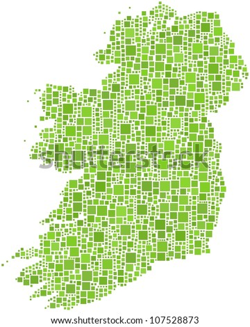Map of Ireland - Europe - in a mosaic of green squares. A number of 1852 squares are inserted into the mosaic